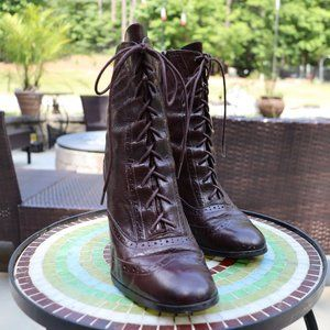 Circa x Joan and David Lace up Leather Boots